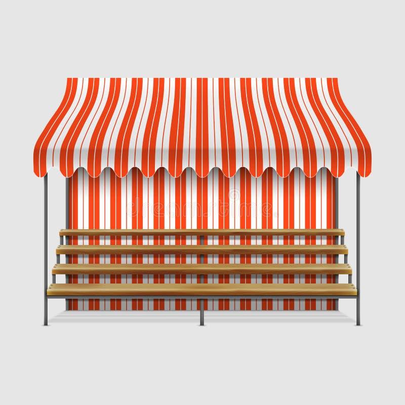 Targowy kram Z Drewnianymi półkami ilustracja wektor