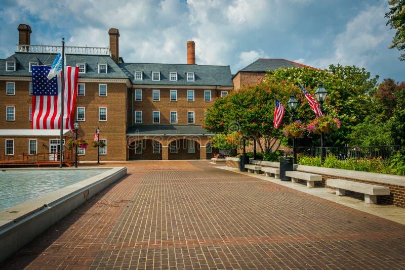 Targowy kwadrat i urząd miasta, w Starym miasteczku, Aleksandria, Virginia obraz stock