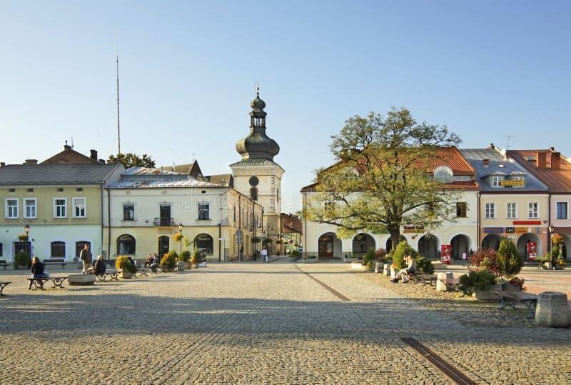 Targowy kwadrat w Krośnieńskim Polska obraz stock
