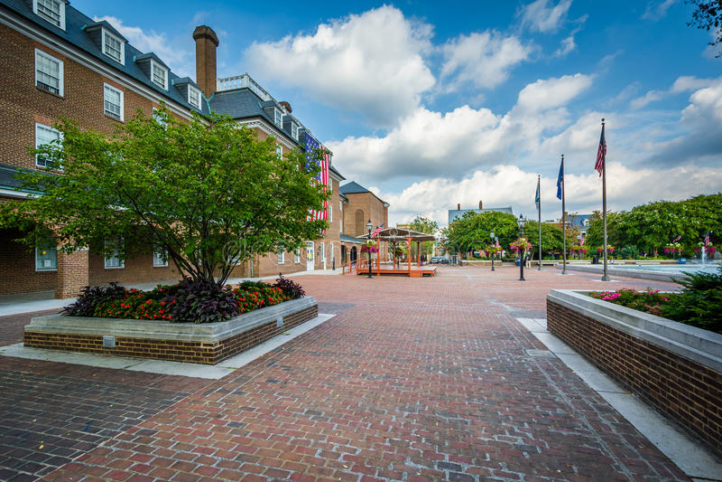 Targowy kwadrat w Starym miasteczku Aleksandria, Virginia zdjęcie royalty free