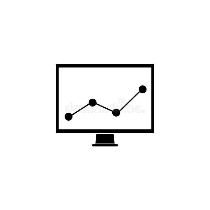 Targowy monitorowanie stała ikona, komputerowa analiza, royalty ilustracja