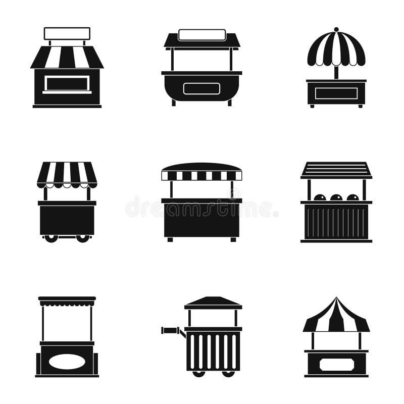 Targowy namiotowy ikona set, prosty styl royalty ilustracja