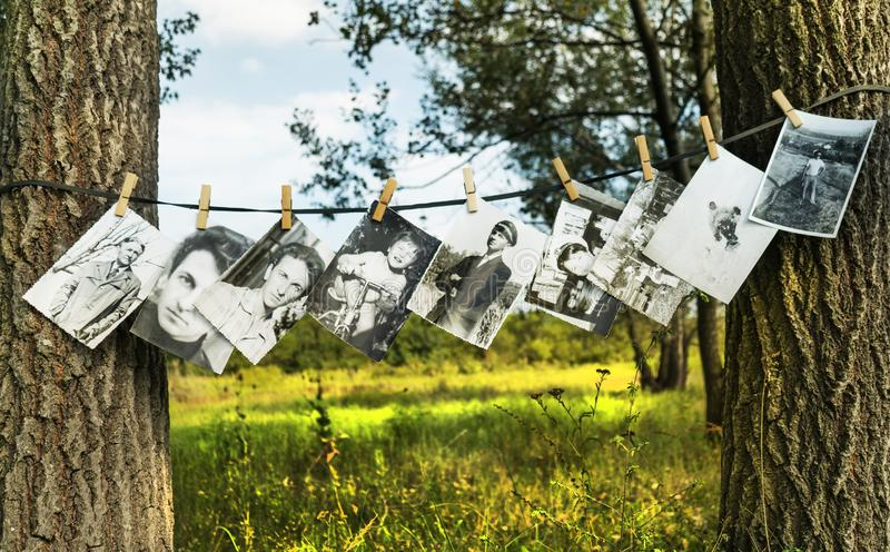 Targu Jiu, Romania. August, 20, 2019- black and white photography exhibition in nature. Photos taken on wire with clothes hooks. B. Eautiful summer day stock photography