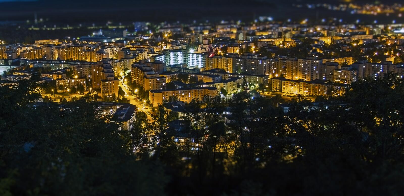 Targu Mures city night time background stock photos