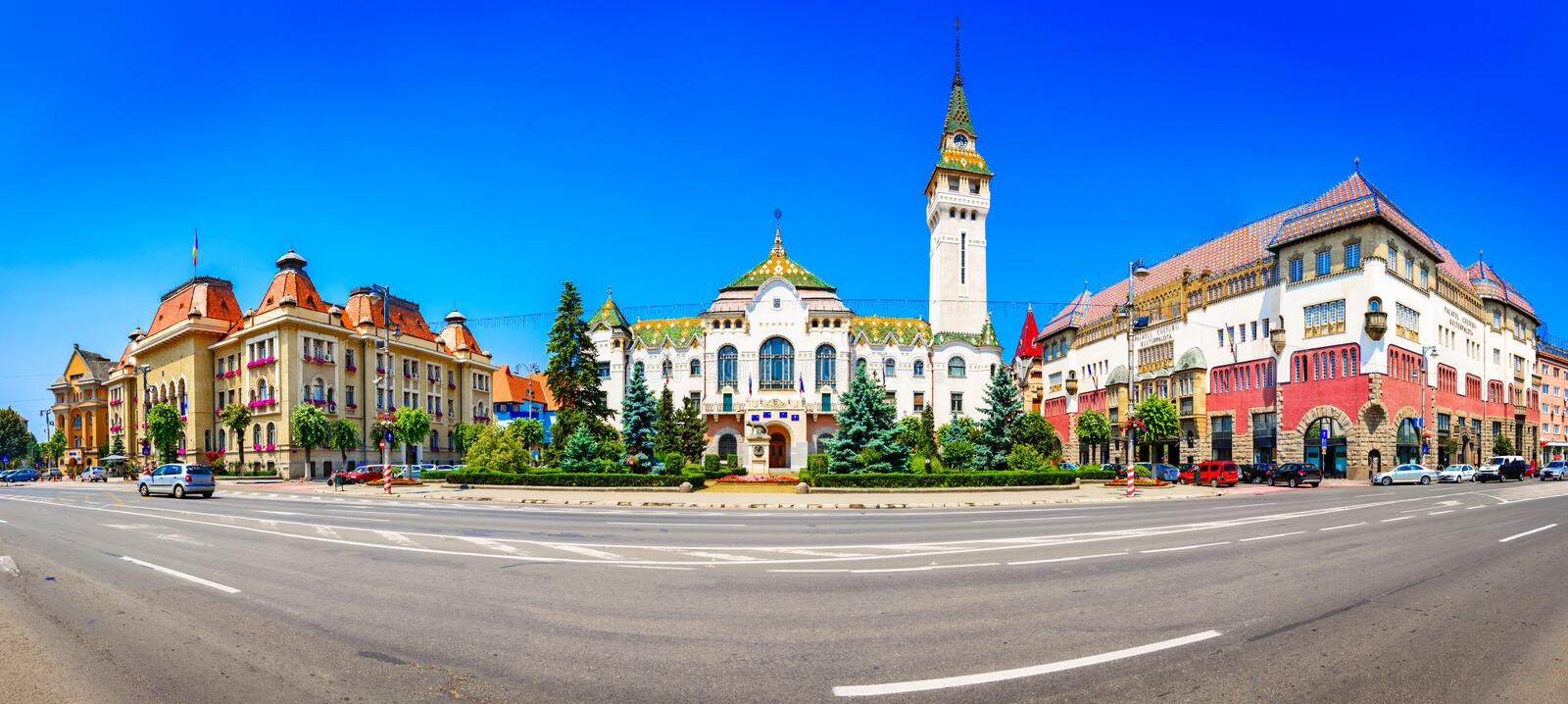 Targu-Mures, Romania, Europe. Street view of the Administrative. Palace and the Culture palace, landmark royalty free stock photo