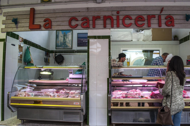 Tarifa, Spain, Andalusia, Iberian Peninsula, Europe. Europe 23/04/2016: butchery at the Mercado de Abastos, the old and small indoor market of Tarifa, the town royalty free stock photography