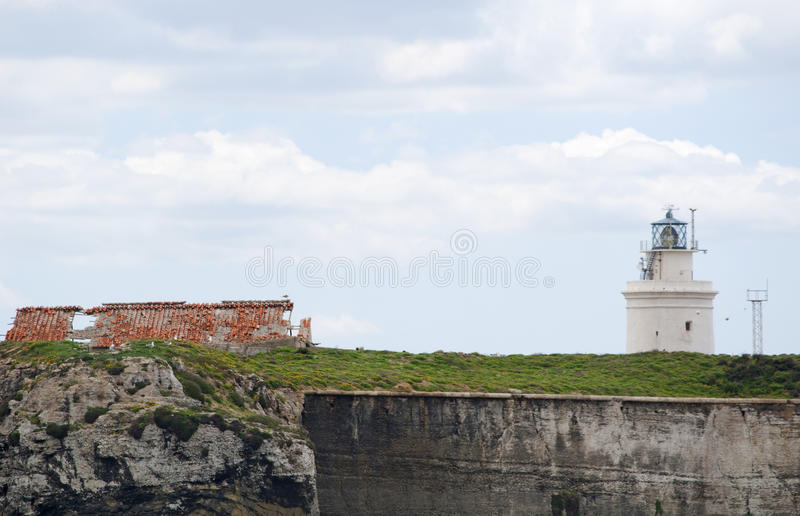 Tarifa, Spain, Andalusia, Iberian Peninsula, Europe, lighthouse. Spain, 23/04/2016: the lighthouse of Punta de Tarifa Point Tarifa, the southernmost point of the stock images