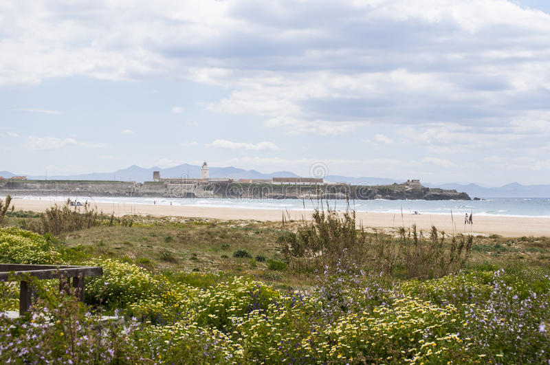 Tarifa, Spain, Andalusia, Iberian Peninsula, Europe, lighthouse. Spain, 23/04/2016: the lighthouse of Punta de Tarifa Point Tarifa, the southernmost point of the royalty free stock photos