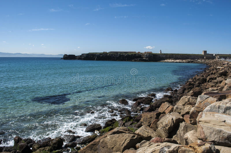 Tarifa, Spain, Andalusia, Iberian Peninsula, Europe. Spain, 23/04/2016: view of Playa Chica, the little beach at the end of the port of Tarifa, the town on the stock photos
