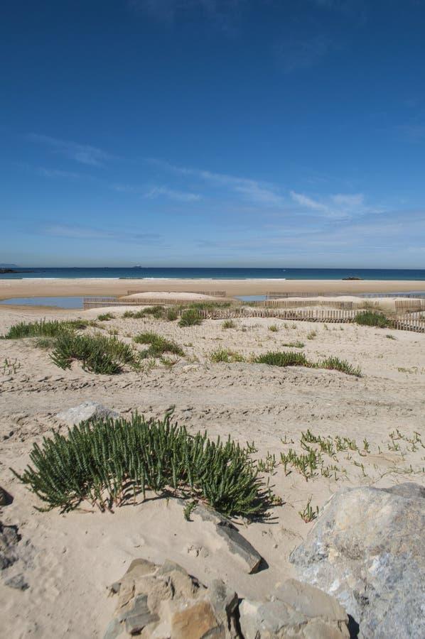 Tarifa, Spain, Andalusia, Iberian Peninsula, Europe. Spain, 23/04/2016: view of Playa de los Lances, the biggest beach of Tarifa, town on the southernmost coast royalty free stock photo