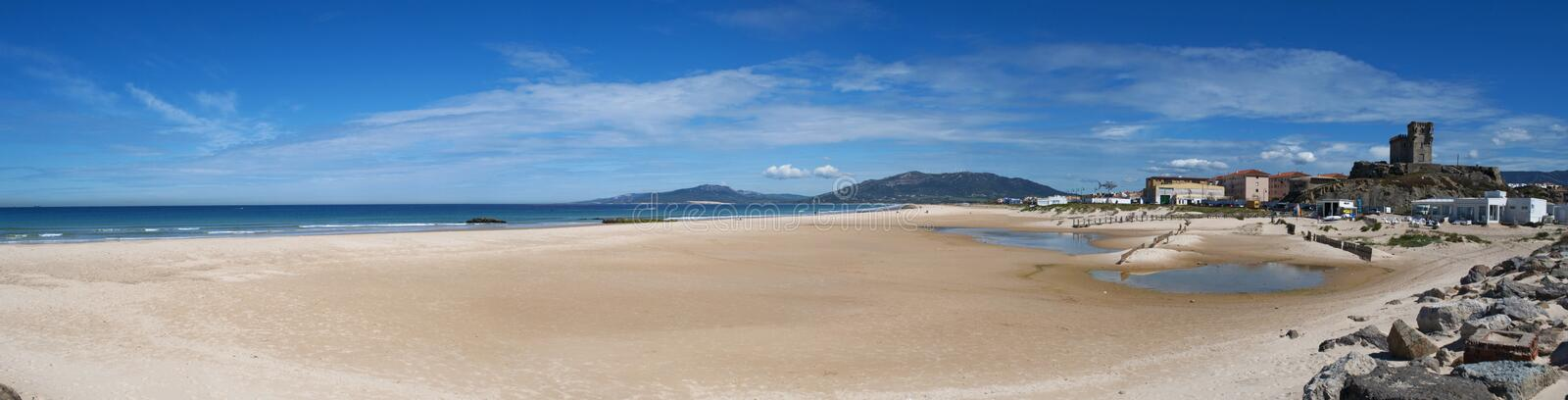 Tarifa, Spain, Andalusia, Iberian Peninsula, Europe, beach, nature, desert, landscape. Spain, 23/04/2016: view of Playa de los Lances, the biggest beach of stock image
