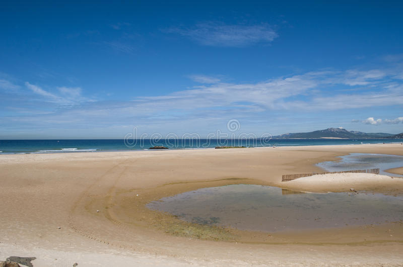 Tarifa, Spain, Andalusia, Iberian Peninsula, Europe. Spain, 23/04/2016: view of Playa de los Lances, the biggest beach of Tarifa, town on the southernmost coast royalty free stock photos