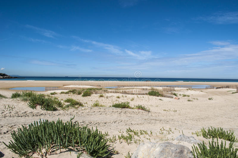 Tarifa, Spain, Andalusia, Iberian Peninsula, Europe. Spain, 23/04/2016: view of Playa de los Lances, the biggest beach of Tarifa, town on the southernmost coast royalty free stock image