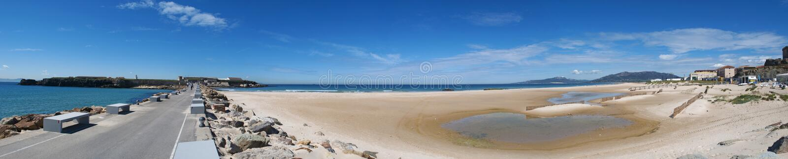 Tarifa, Spain, Andalusia, Iberian Peninsula, Europe. Spain, 23/04/2016: view of Playa de los Lances, the biggest beach of Tarifa, town on the southernmost coast royalty free stock photo
