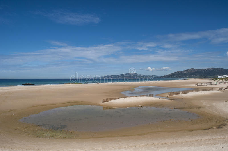 Tarifa, Spain, Andalusia, Iberian Peninsula, Europe, beach, nature, desert, landscape. Spain, 23/04/2016: view of Playa de los Lances, the biggest beach of stock photo