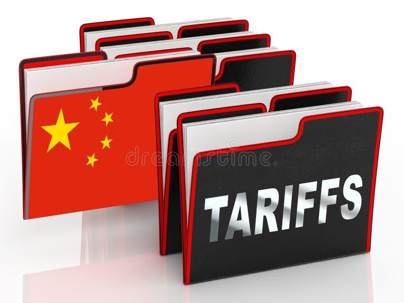 Tarifas do comércio do trunfo em China como o pagamento e a pena - ilustração 3d ilustração royalty free