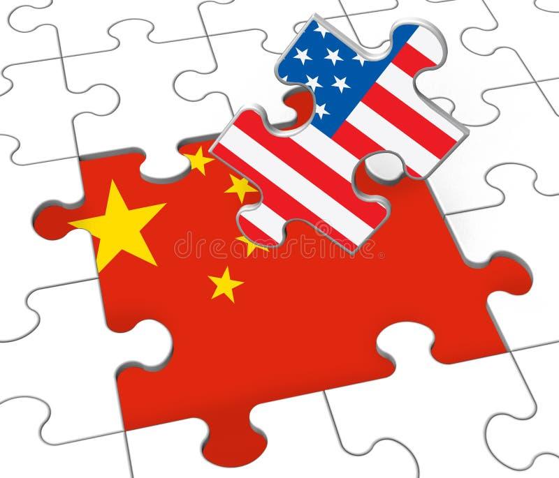 Tarifas do comércio do trunfo no chinês como Levy And Penalty - ilustração 3d ilustração stock
