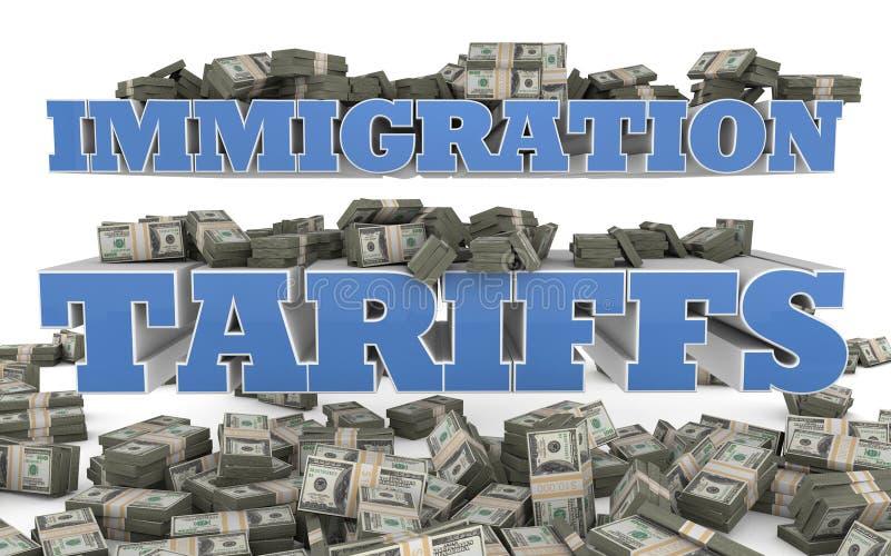 Tarifas mexicanas da imigração ilegal - ilustração 3D foto de stock