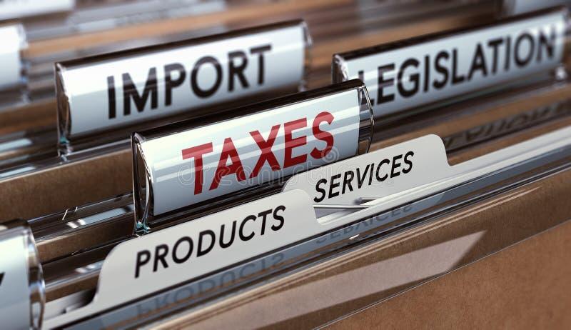 Tarifas o impuestos de importación stock de ilustración