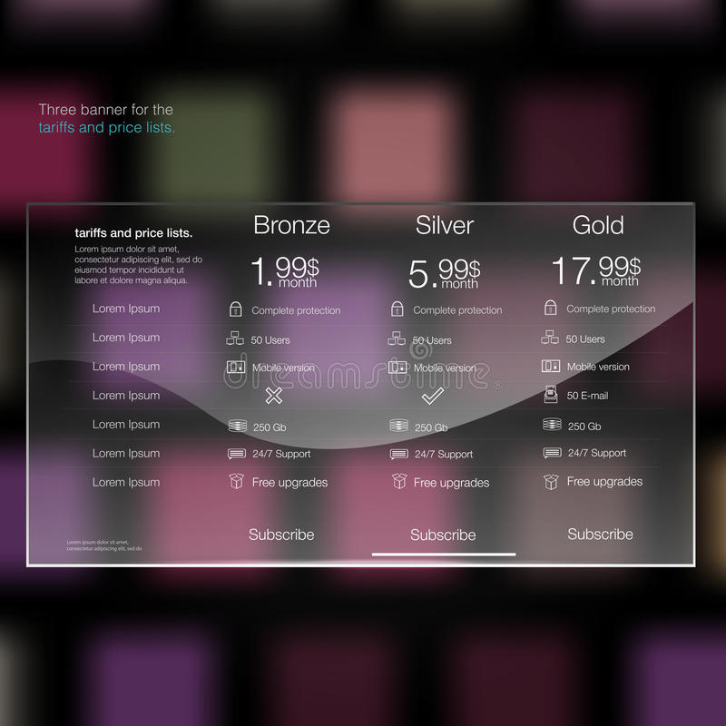 Tarifas y elementos del web de la lista de precios Recibimiento del plan Diseño del vector para el web app Tabla de la tasación,  libre illustration