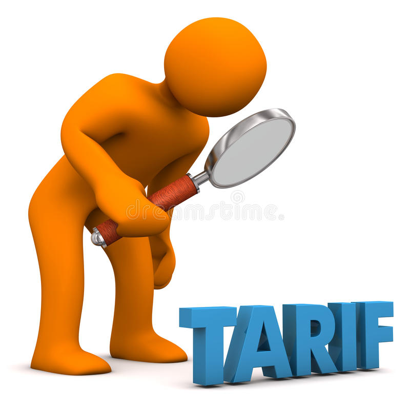 Tariff Check. Orange cartoon character with loupe and blue german text Tarif, translate Tariff royalty free illustration