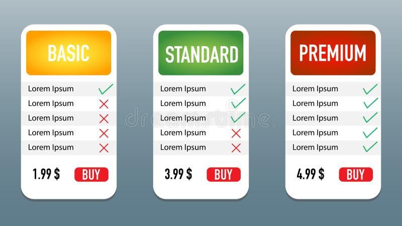Tariff plan standard medium premium grey background. Vector royalty free illustration