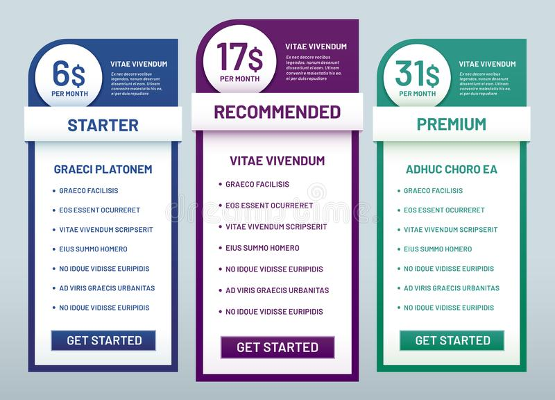 Tariff plans comparison. Recommended tariffs, price list banners and prices plan template vector illustration. Tariff plans comparison. Recommended tariffs vector illustration