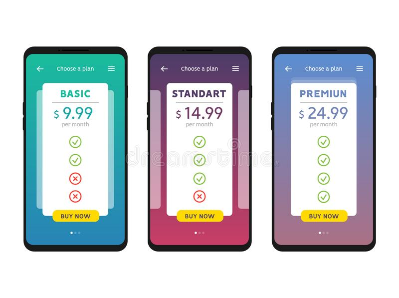 Tariff plans mobile Ui interface for web apps template.  royalty free illustration
