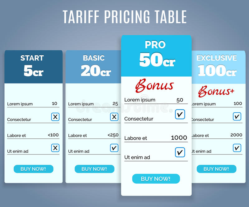 Tariff Pricing Table with Labels. Vector Tariff Pricing Table with Labels and Text, Buy Now Product vector illustration