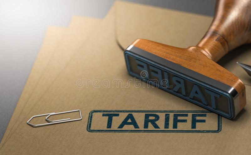 Tariff, Taxes on Imported Goods. 3D illustration of a rubber stamp with the word tariff stamped on paper background. Concept of taxes or duties on imported goods vector illustration