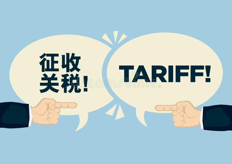 Tariff trade war between China and United States. Concept of crisis, argument or protectionism stock illustration
