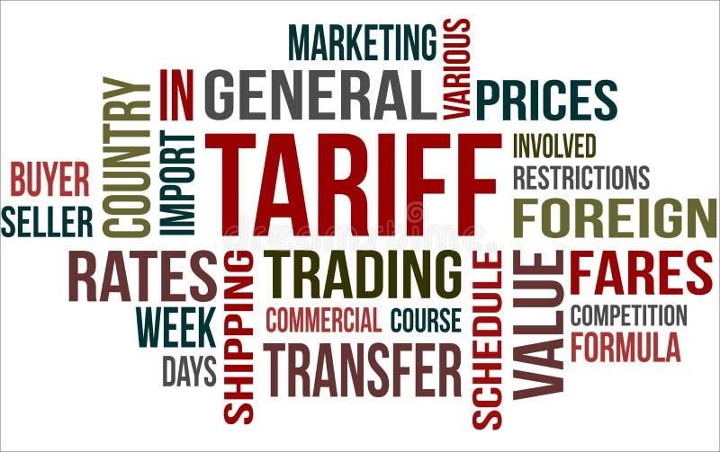 TARIFF - word cloud. Word cloud of Tariff related items vector illustration