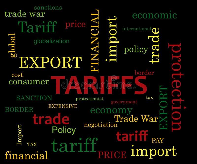 Tariff word cloud. On dark background royalty free illustration