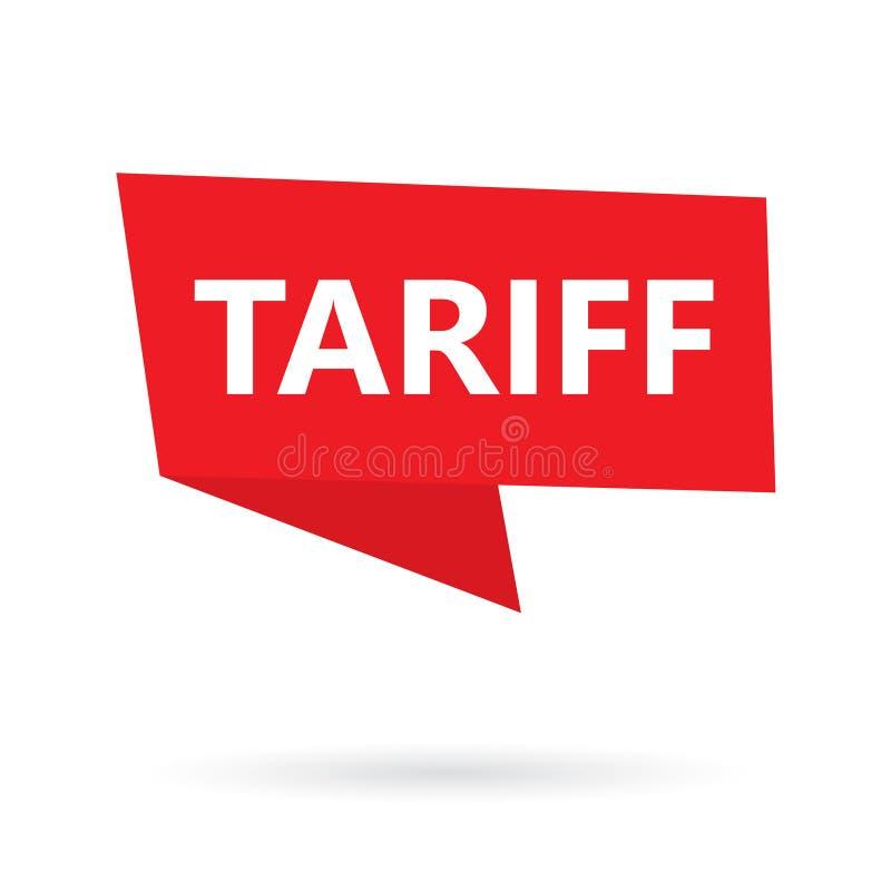 Tariff word on a speach bubble. Vector illustration vector illustration