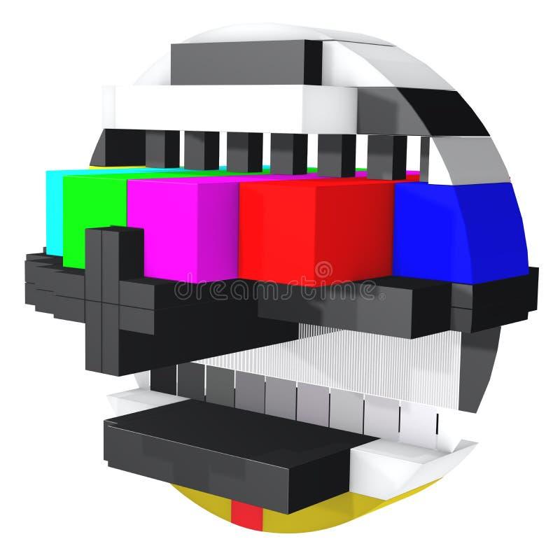 Tarjeta 3d de la prueba de pantalla de la TV stock de ilustración