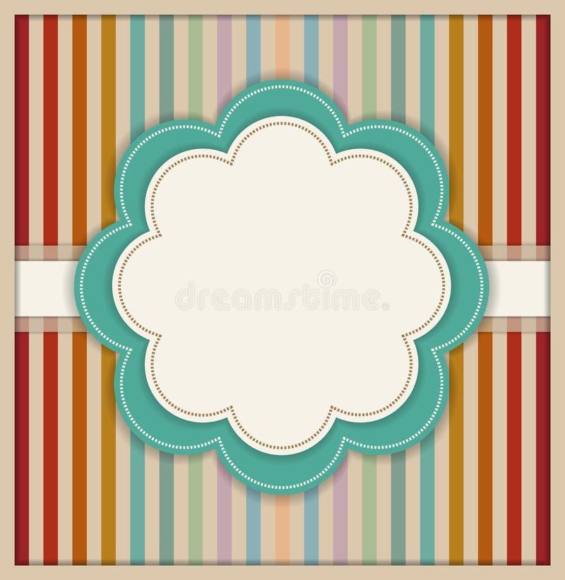 Tarjeta abstracta con la flor y el fondo rayado retro colorido libre illustration