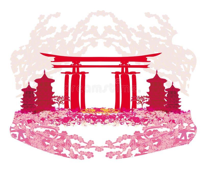 Tarjeta abstracta con los edificios y las flores de cerezo asiáticos libre illustration