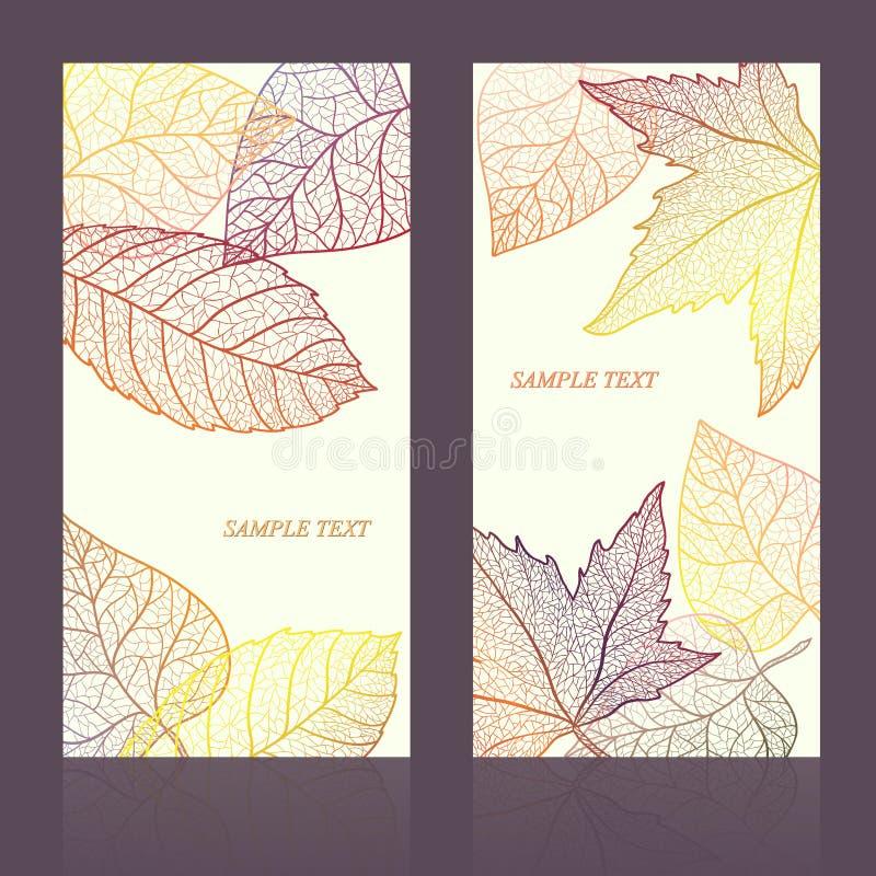 Tarjeta abstracta de la plantilla con las hojas de otoño y su texto para el fondo acodado ilustración del vector