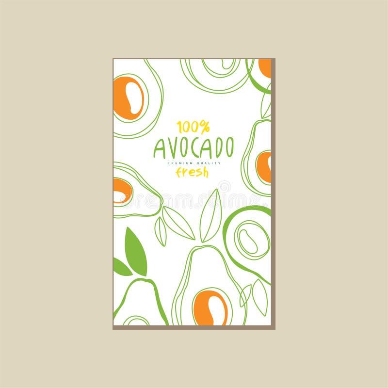 Tarjeta abstracta del vector con los aguacates frescos Nutrición natural y sana Alimento biológico Diseño creativo para el produc ilustración del vector