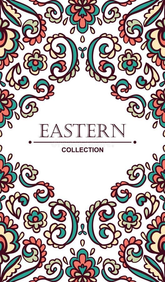 Tarjeta adornada del vintage con los elementos florales del este Frontera afiligranada del vector con el lugar para su texto stock de ilustración