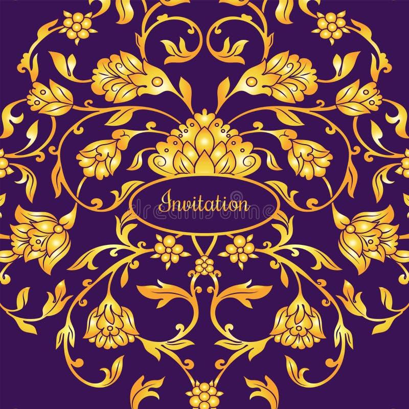 Tarjeta adornada floral de la invitación con la antigüedad, la violeta de lujo y el ornamento del vintage del oro, bandera del vi ilustración del vector