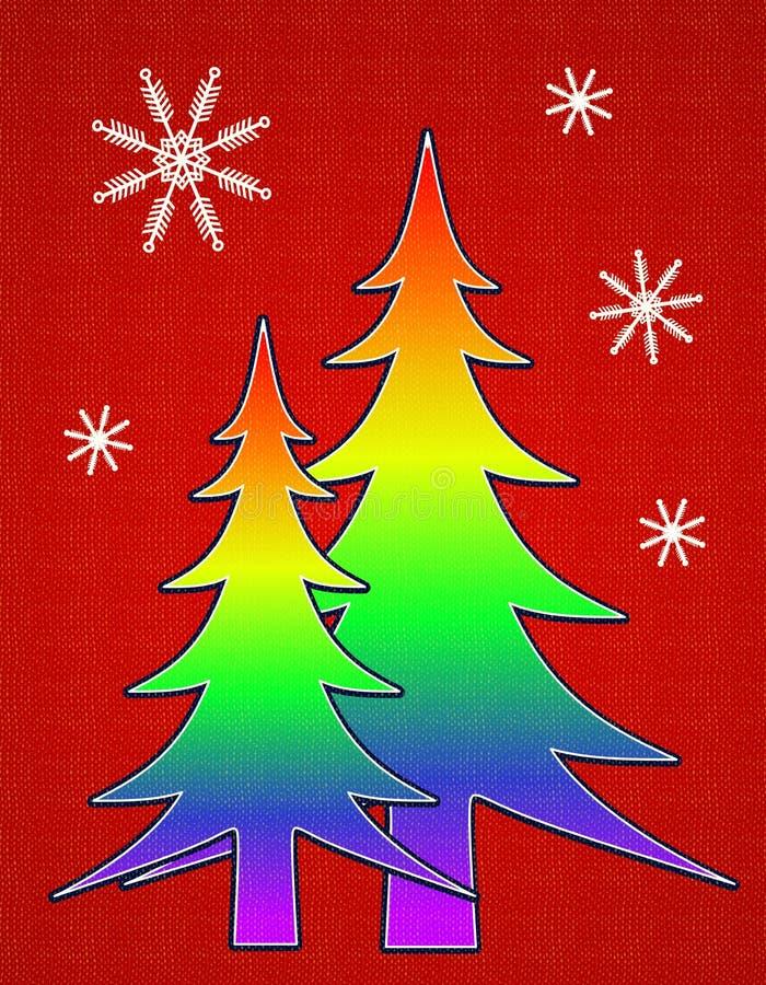 Tarjeta alegre 2 del árbol de navidad del indicador del orgullo stock de ilustración