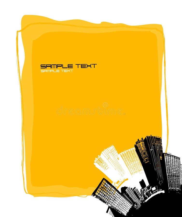 Tarjeta amarilla con la ciudad. Vector stock de ilustración
