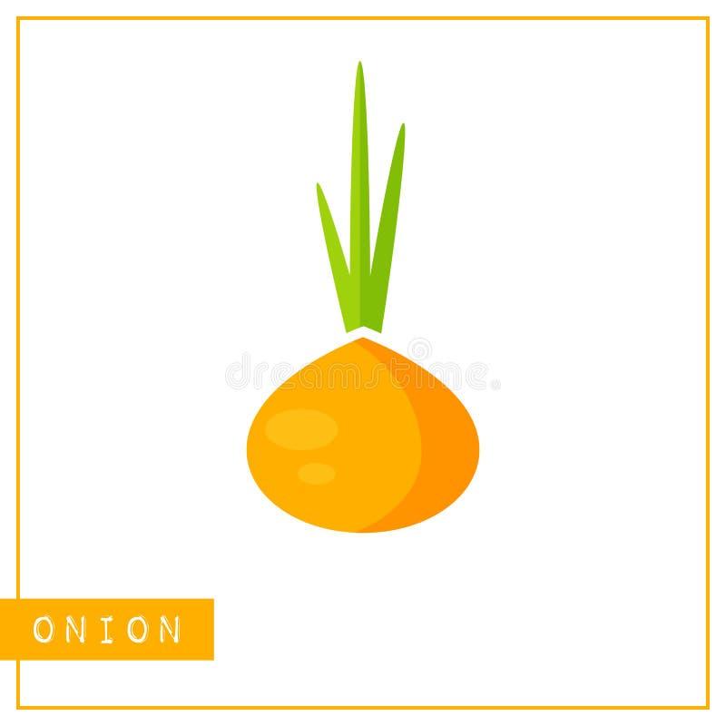Tarjeta anaranjada aislada del entrenamiento de la memoria de la cebolla stock de ilustración