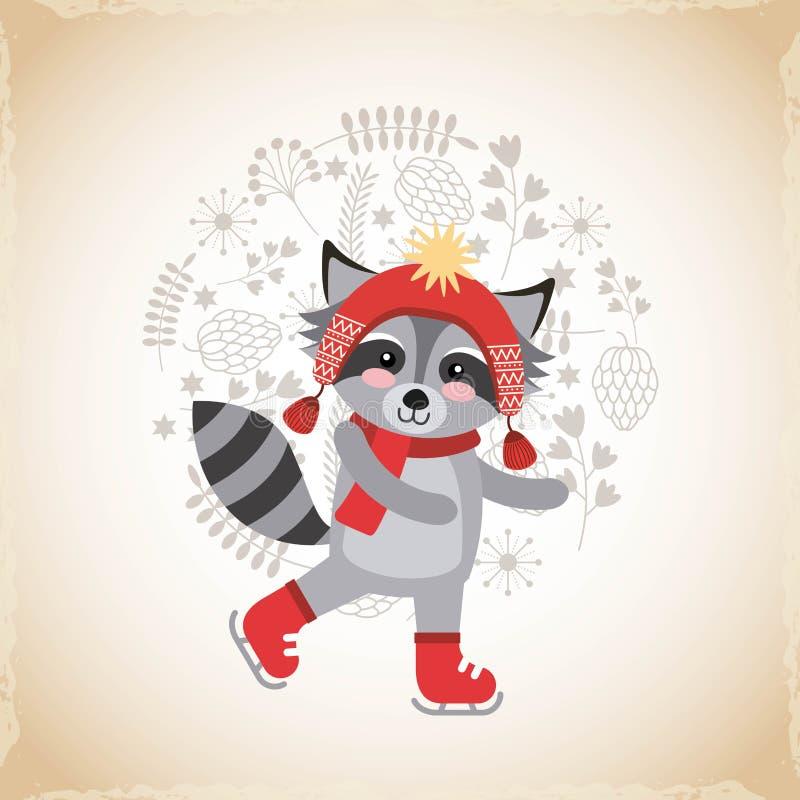 tarjeta animal linda de la celebración de la Navidad ilustración del vector