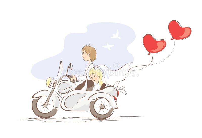 Tarjeta -- apenas casado en una motocicleta libre illustration