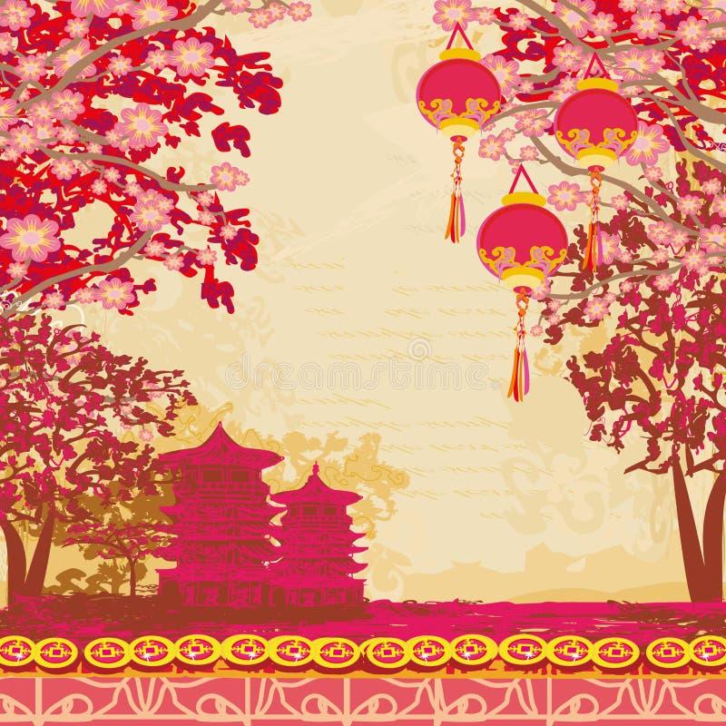 Tarjeta asiática abstracta del paisaje stock de ilustración