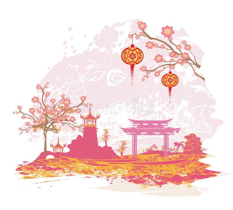 Tarjeta asiática abstracta del paisaje ilustración del vector