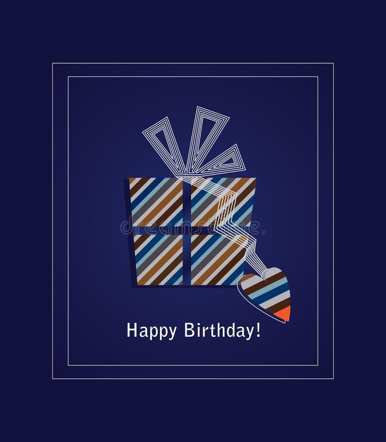 Tarjeta azul 2 del feliz cumpleaños ilustración del vector