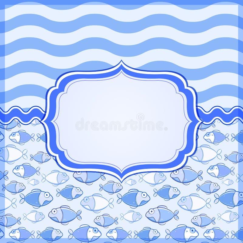 Tarjeta azul con el marco de escritura de la etiqueta elegante stock de ilustración